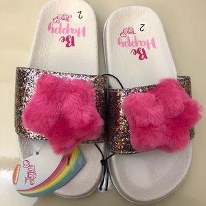 JoJo Siwa Big Girl Glitter Faux Fur Slides Sz2 NWT